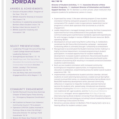 My Resume Page 2