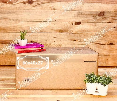 Caixa de papelão seminova intermediária / parede dupla 📏60compx40largx27alt