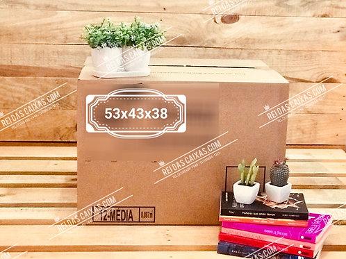 Caixa de papelão seminova média / parede simples 📏53compx43largx38alt