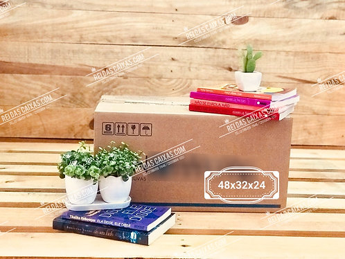 Caixa de papelão seminova pequena / parede simples 📏48compx32largx24alt