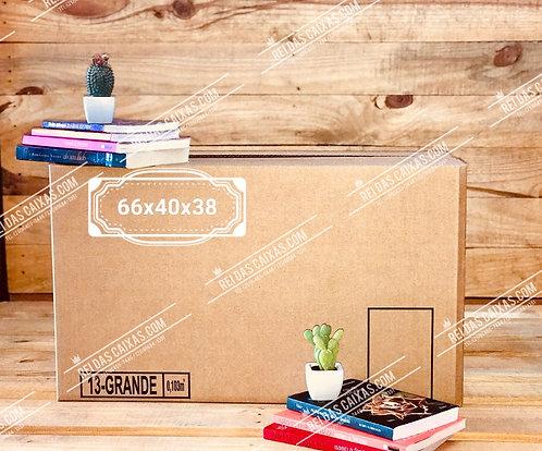 Caixa de papelão seminova grande / parede simples 📏66compx40largx38alt