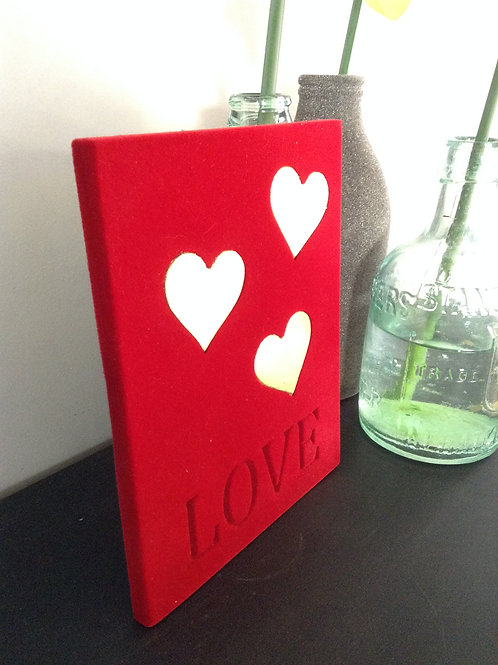 Red flocked card with3 Gold leaf hearts