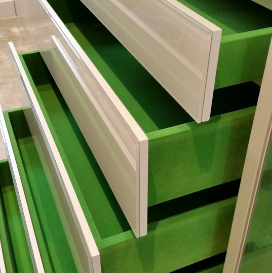 Green flocked drawers