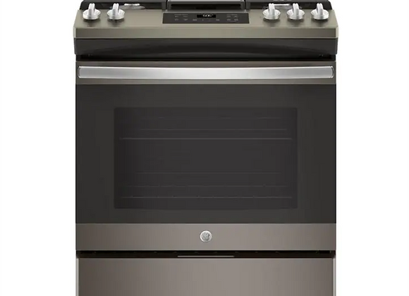 GE 5.3 cu. ft. Slide-In Gas Range with Steam-Cleaning Oven in Slate