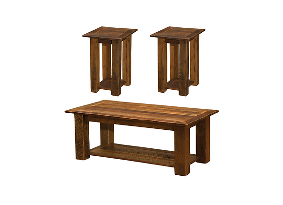 Fireside Open Coffee Table and 2 Open End Tables 3pc Set