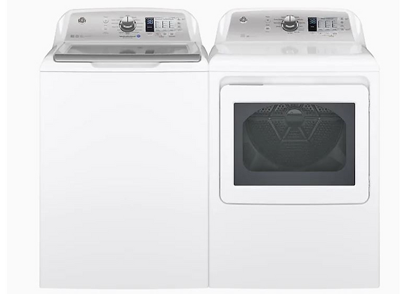 GE High-Efficiency Top-Load Washer and Electric Dryer in White, ENGERY STAR