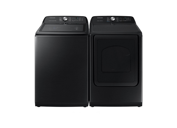 Samsung Fingerprint Resistant Black Stainless Top Load Washer & Electric Dryer
