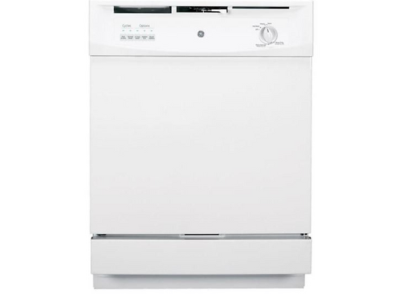 GE Front Control Dishwasher in White, 62 dBA
