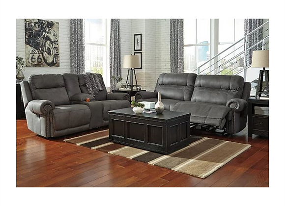 Ashley Austere Gray Reclining Sofa and Loveseat with Console