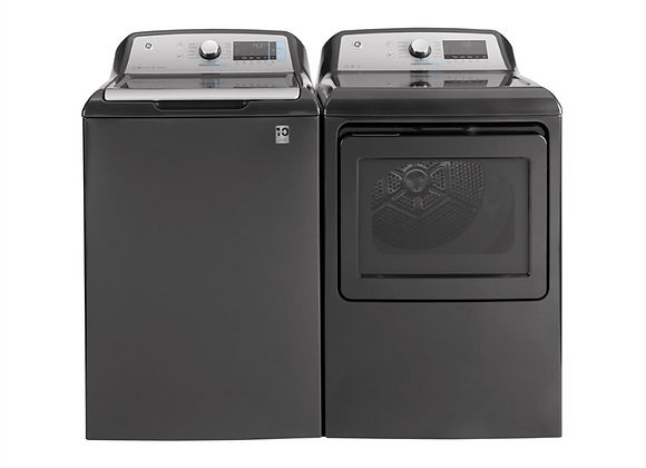GE High-Efficiency Top Load Washing Machine & Smart Electric Dryer, Diamond Gray