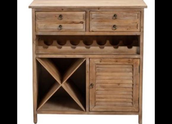 Crestview Jackson 2 Drawer Weathered Oak Wine Cabinet