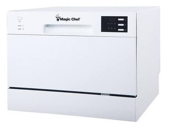 Magic Chef Countertop Portable Dishwasher with 6 Place Settings Capacity