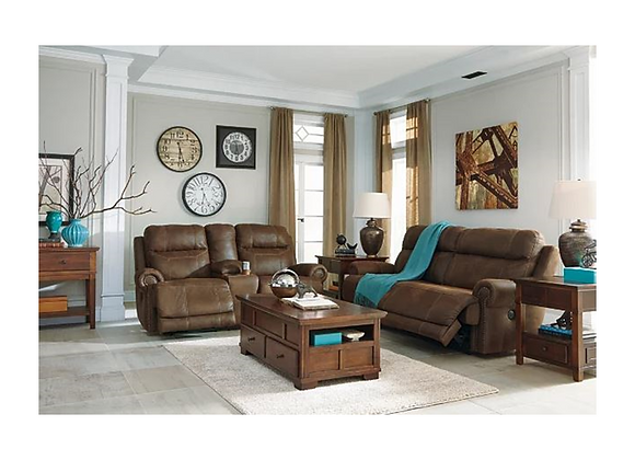 Ashley Austere Brown Reclining Sofa and Loveseat with Console