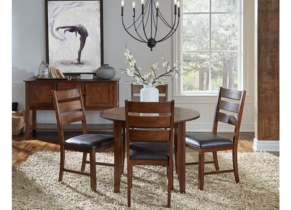 A-America Mason Round Drop Leaf Table in Brown with 4 Ladderback Side Chairs