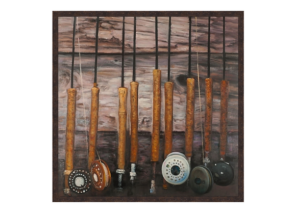 Fishing Rods on Wood Wall Art