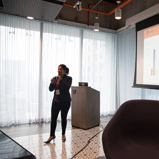 """Dr Aim giving her talk on """"Users' Behavior and Trust in Social Media."""""""