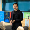 """Philip Chua from Twitter giving a talk on """"Health of the Public Conversation."""""""