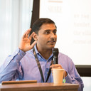 """Prof Nitin giving his talk on """"Deviant Mobs of the Internet: Tactics, Techniques, and Procedures."""""""