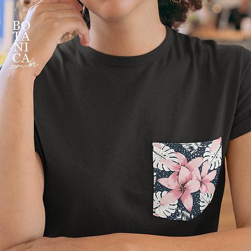 Camiseta Bolso - Plumeria rubra - Jasmim manga