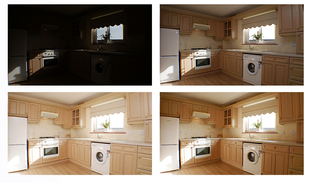 Multiple photographs of a kitchen for property photography.