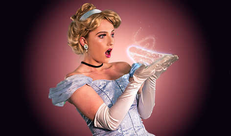 cinderella looking at hand with glass sl