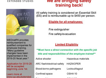 WEDnetPA safety training now available!