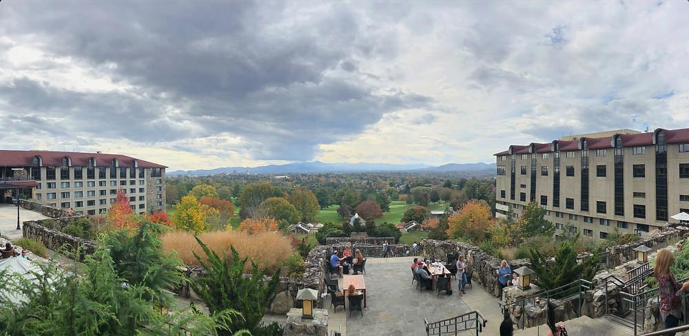 Blue Ridge Mountains, Asheville, North Carolina—Sunset Terrace, Omni Grove Park Inn
