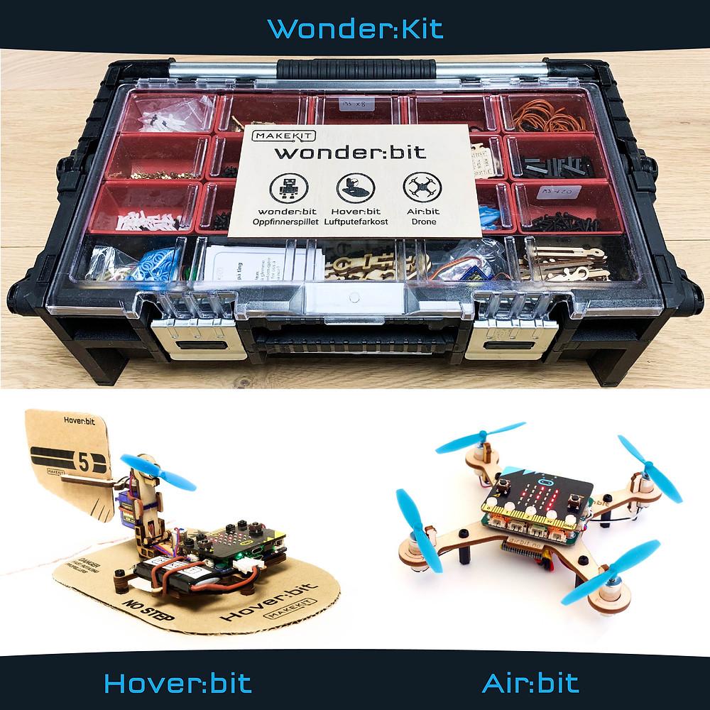 WonderKit, Airbit, Hoverbit, microbit drone og microbit hovercraft