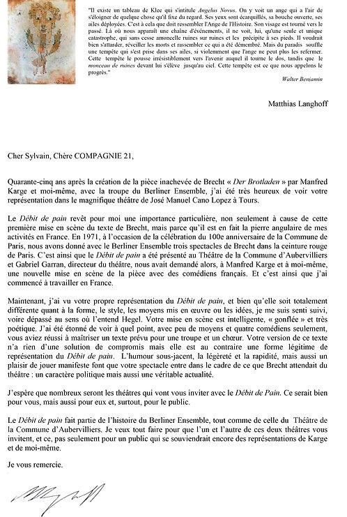 Lettre M. Langhoff - COMPAGNIE 21 sans a