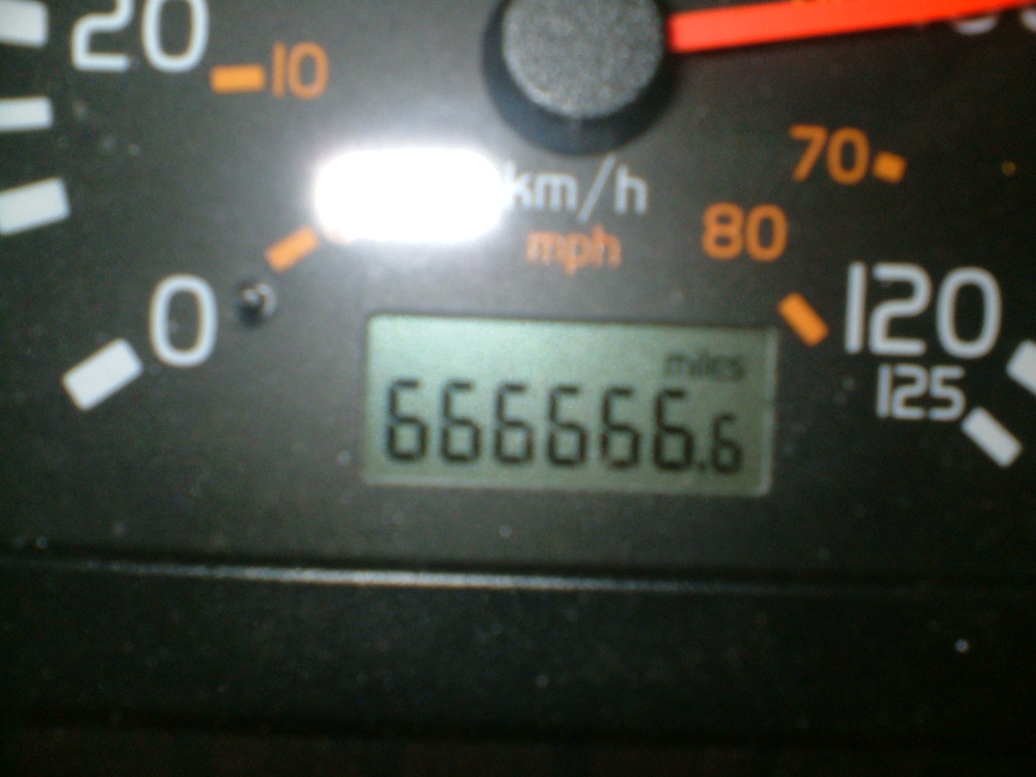 Devils number on tachometer of my Volvo VLN ruck
