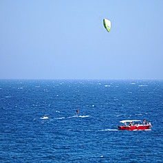 Kit surfer on the Mediteranean Sea