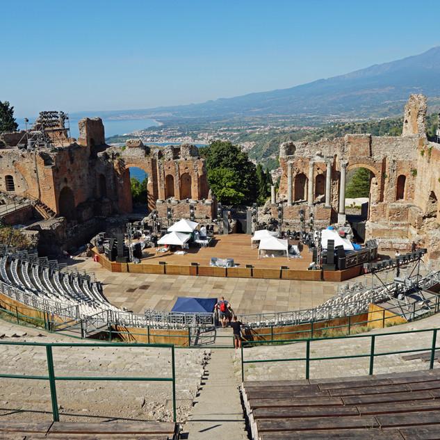 Teatro Antico, Taormina, Italy with view of the vulcan Vesuv