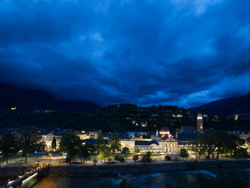Dramatic sky over Dorf Tirol ( BZ) in Italy - time lapse