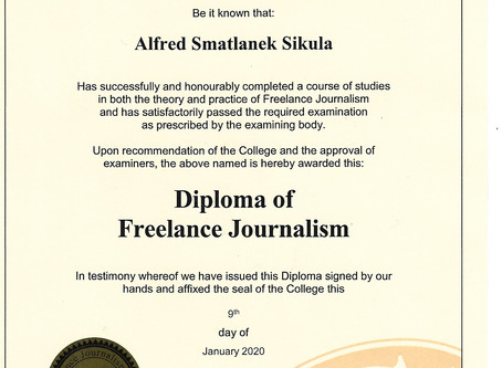 My new Diploma of Freelance Journalism
