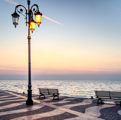 Promenade in the Lazise town, Italy