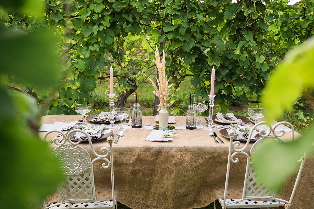 wedding table in vineyard