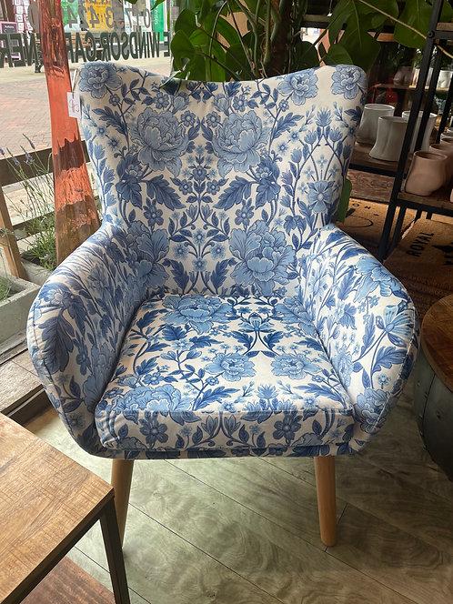 Blue Floral Print Chair