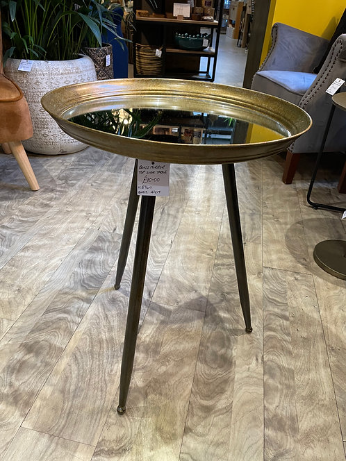 Brass Mirror Top Side Table