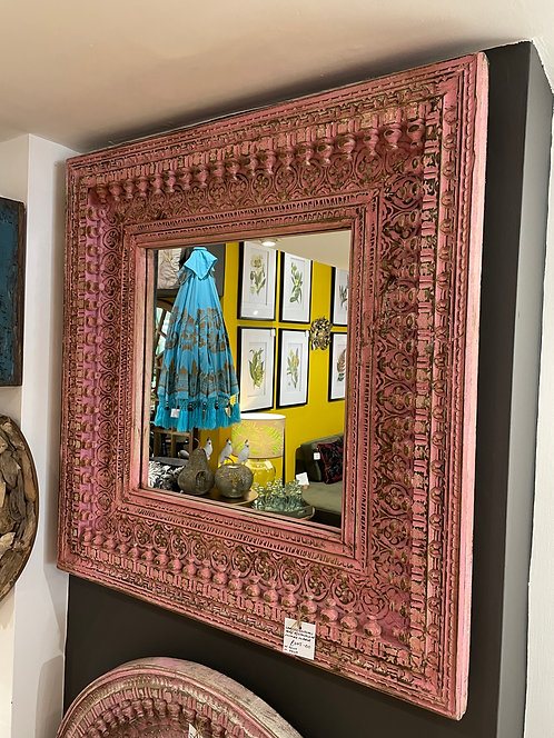 Carved Indian Teak Rectangular Vintage Mirror