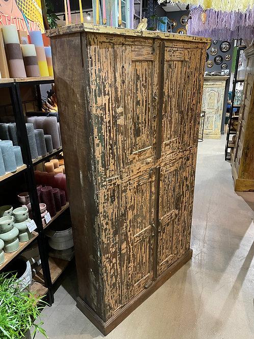 Vintage Indian Teak Four Door Storage Cabinet