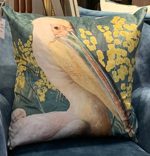 Velvet Green Pelican Cushion