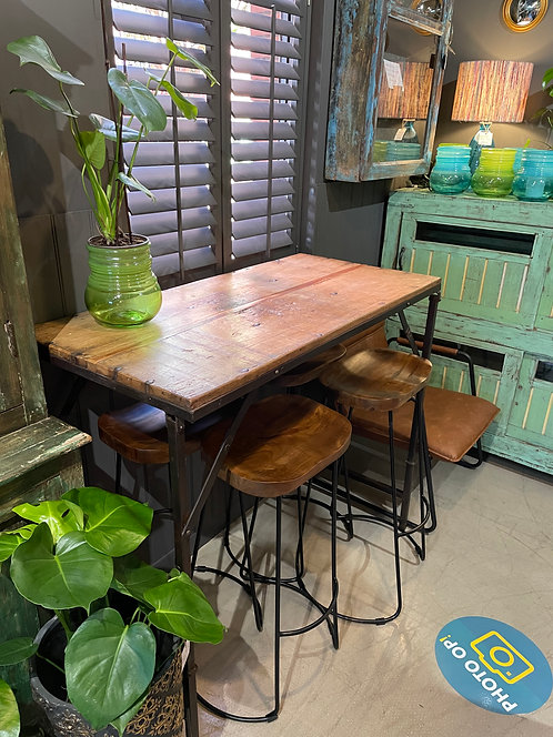 Indian Teak/Iron High Table with 4 Stools