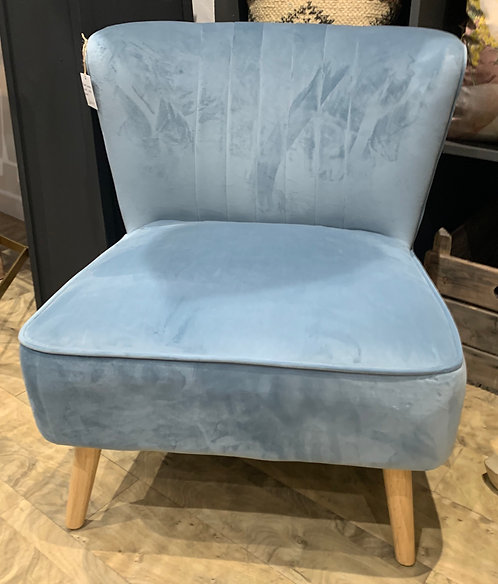 Pale Blue Velvet Cocktail Chair
