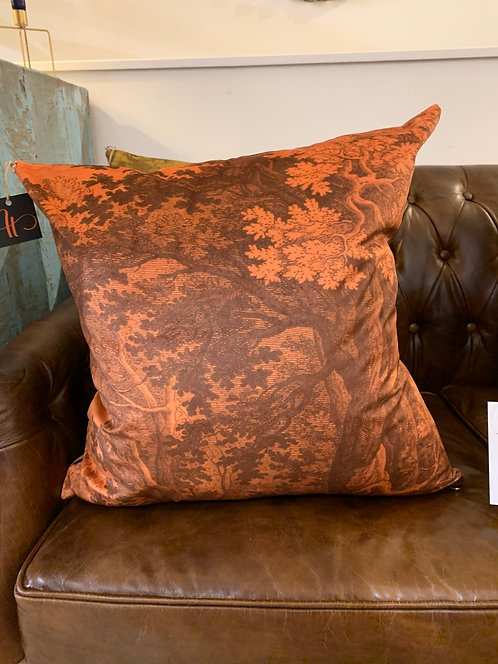Orange Woodlands Velvet Cushion