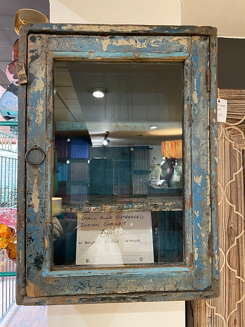 Small Blue Distressed Indian Cabinet
