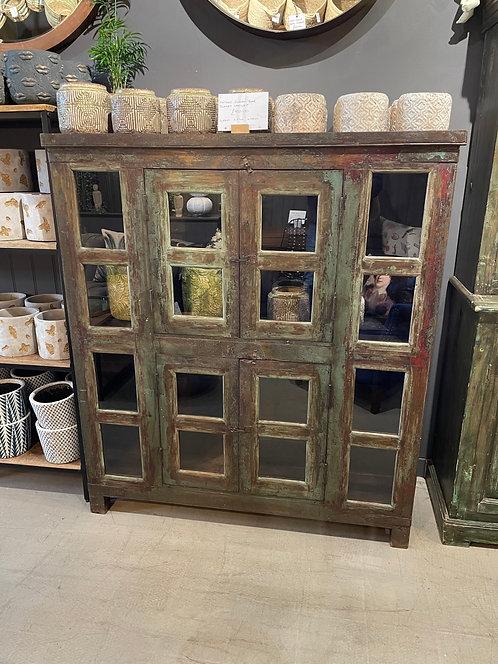 Vintage Indian Teak Glazed Cabinet