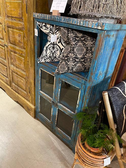 Blue Vintage Indian Teak Cabinet with Open Shelf