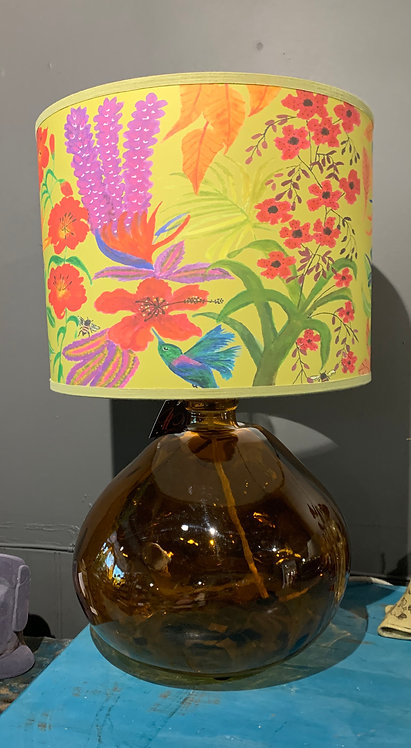 Amber Recycled Glass Lamp with Printed Shade