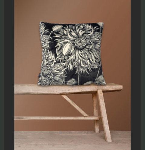 Black Poppy Velvet Cushion