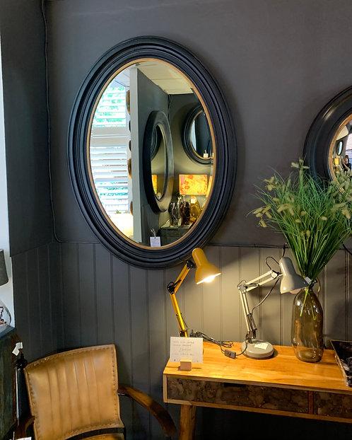 Black & Gold Oval Mirror